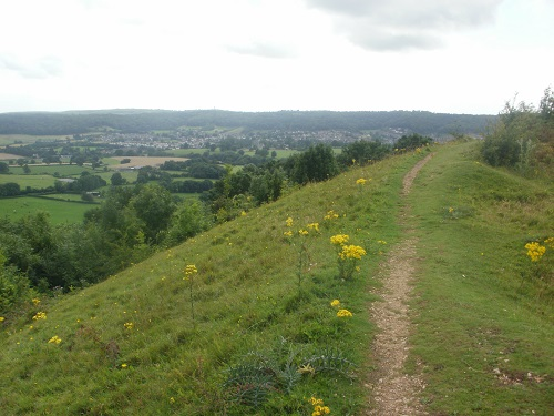 Walking along Cam Long Down with Dursley in the distance