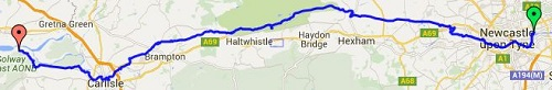 The Hadrian's Wall Path route between Wallsend and Bowness On Solway
