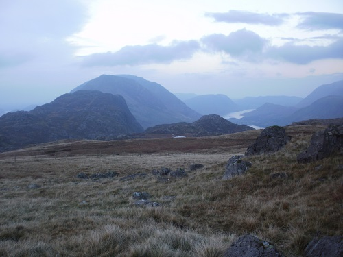 Looking at Haystacks and the High Stile range in the early morning light