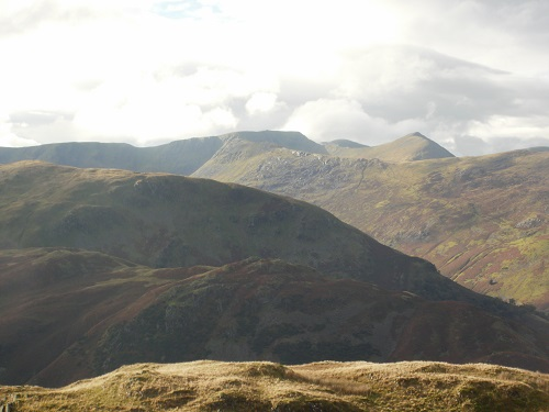 Looking over at Striding Edge, Helvellyn and Catstycam