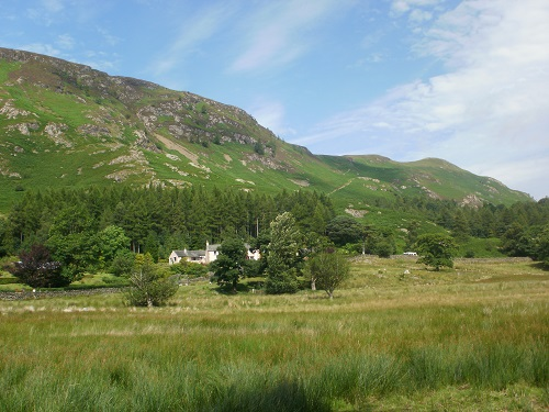 Looking up at Catbells and Maiden Moor along the Cumbria Way