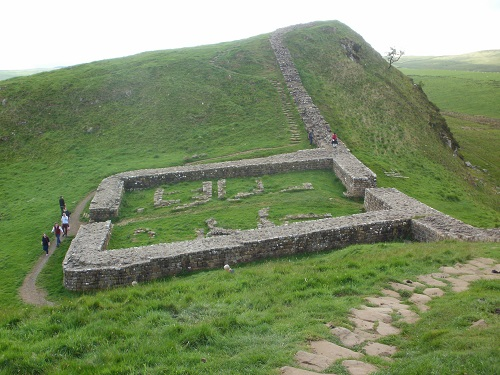 The ruins of Milecastle 39 along Hadrian's Wall