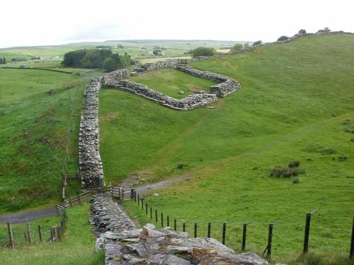 The ruins of Milecastle 42 along Hadrian's Wall at Cawfields