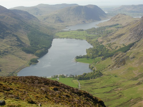 Looking down to Buttermere and Crummock Water