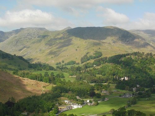 Looking down at Patterdale as I head towards Boredale Hause