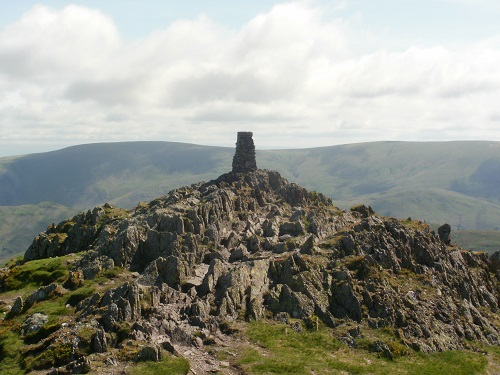 The Trig Point at the summit of Place Fell