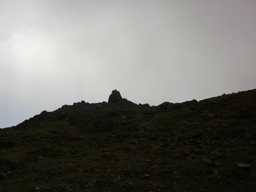 The summit cairn on Raise