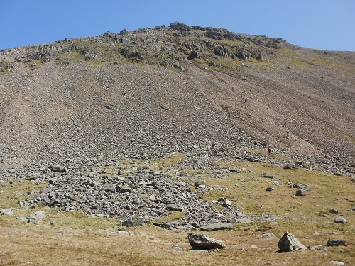 Looking up the scree ascent to Great Gable from Kirk Fell