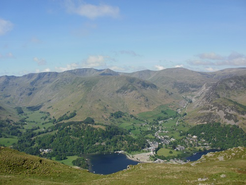 Looking down to Patterdale with Helvellyn, Catstycam and other Fells above it