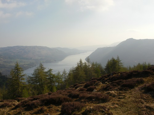 Ullswater in the haze, from Glenridding Dodd
