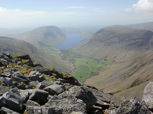 Looking down to Wasdale from the descent from Great Gable