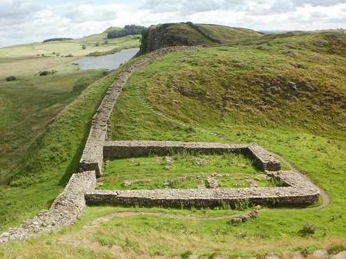 The ruins of a Milecastle along the Pennine Way and Hadrian's Wall Path