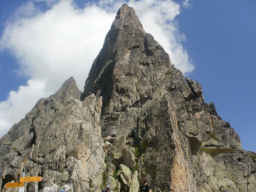The pointed peak just above the Fenetre D'Arpette summit