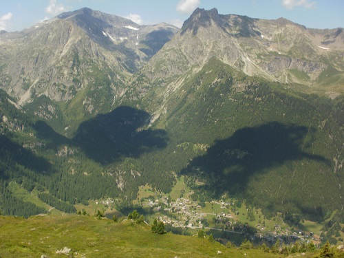 Looking down at Le Tour and Montroc from Aiguillette des Posettes