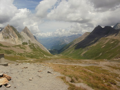 Looking down into Italy from the Col de la Seigne