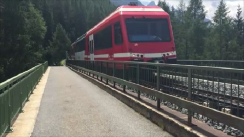 The Mont Blanc Express train approaching Montroc Station