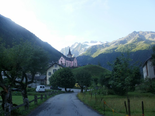 The pink church in Trient, near the Auberge du Mont Blanc