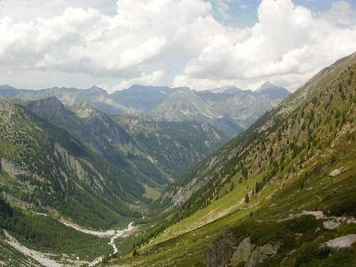 Looking down the valley towards Trient descending from Fenetre D'Arpette